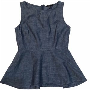 Banana Republic Chambray Peplum Sleeveless Top 0P
